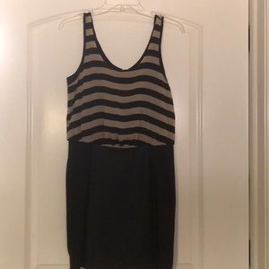 Striped mini dress with leather accents